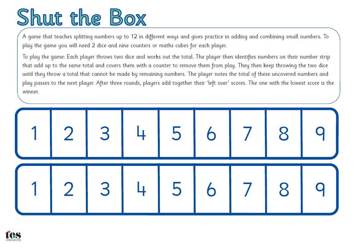 Shut The Box Maths Game Printable Maths Game That That