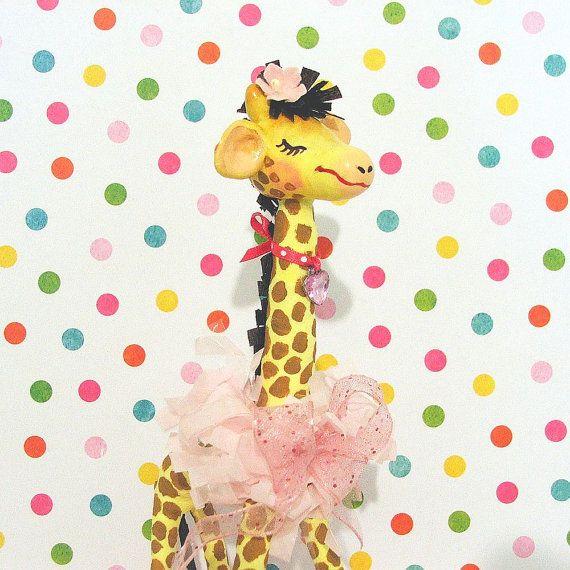 Happy Pink Giraffe Cake Topper/Centerpiece by marileejanedesigns, $35.00