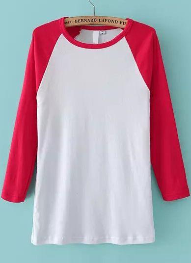 Rojo Redondo Manga Larga Cuello Camiseta 16wpIq4Ux