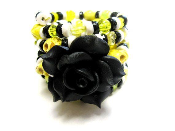 Day Of The Dead Sugar Skull Bracelet Flor de by sweetie2sweetie, $24.99