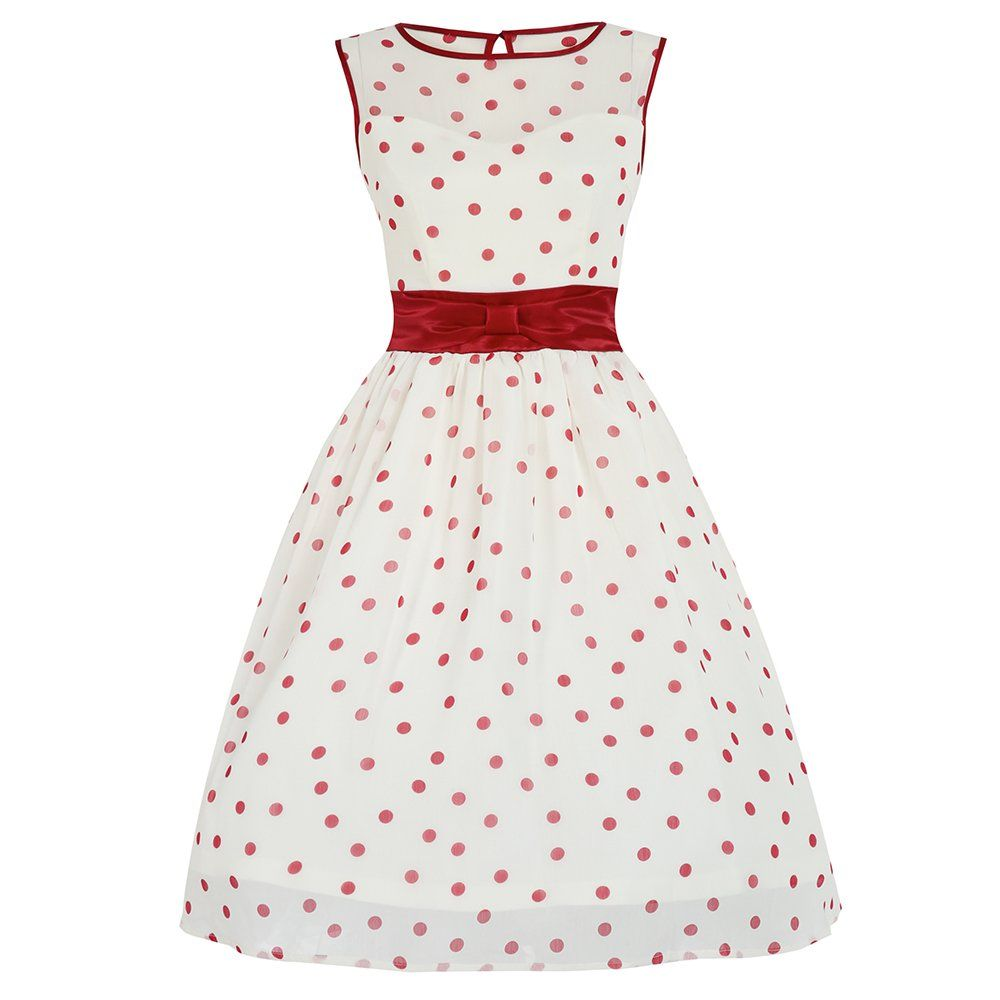 Candy White Red Polka Dot Swing Dress Red And White