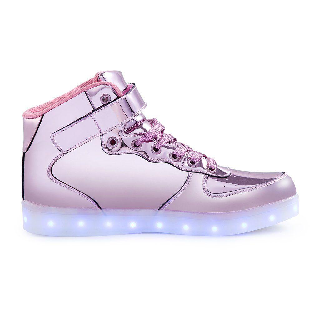 KEVENI Kids Boys Girls High Top USB Charging Led Shoes Light Up Flashing Shoes Fashion Sneakers