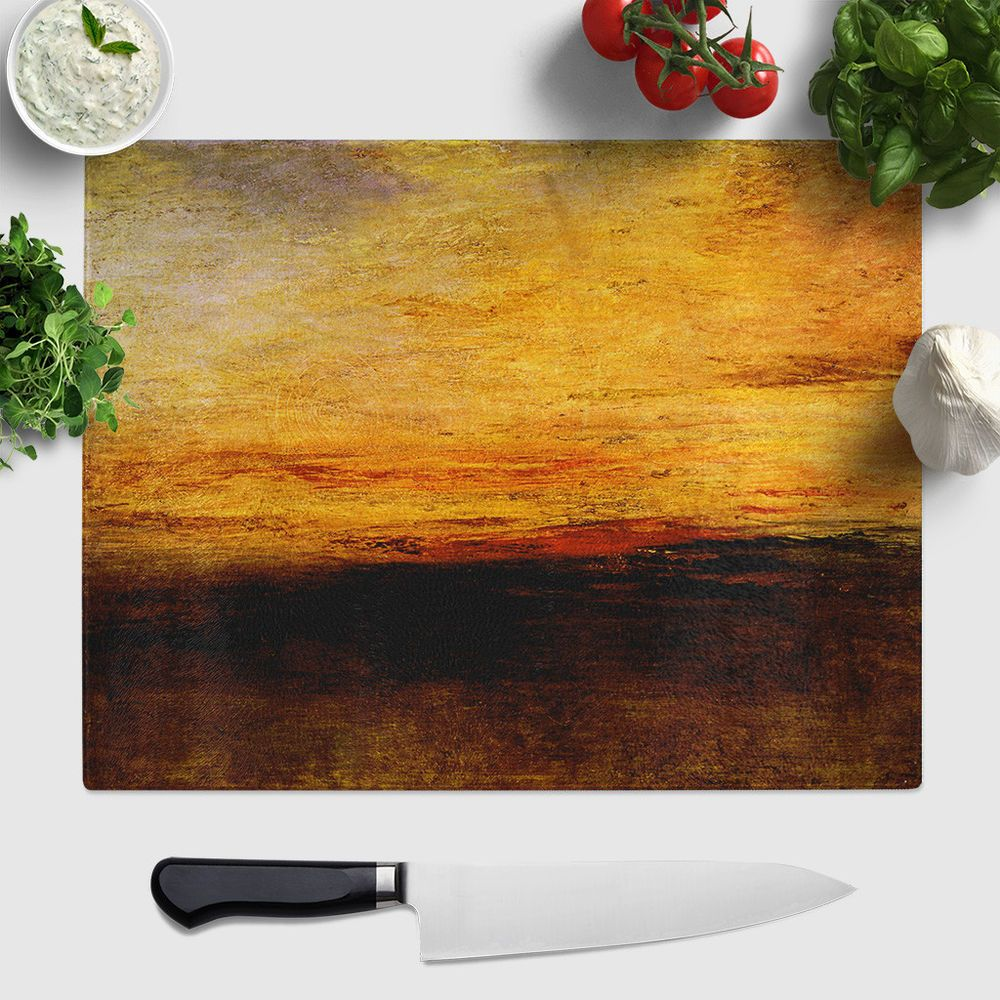 Merveilleux 1 X Large Glass Chopping Board Worktop Saver Protector J.M.W. Turner Sun  Setting