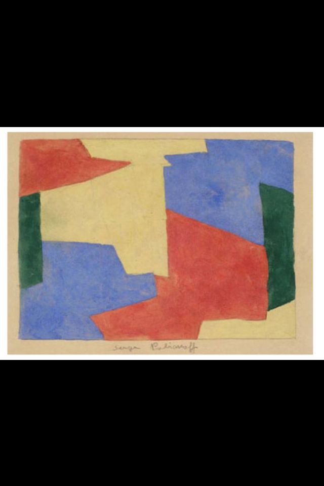 Serge Poliakoff Composition Aquarelle Et Gouache 23 X 30