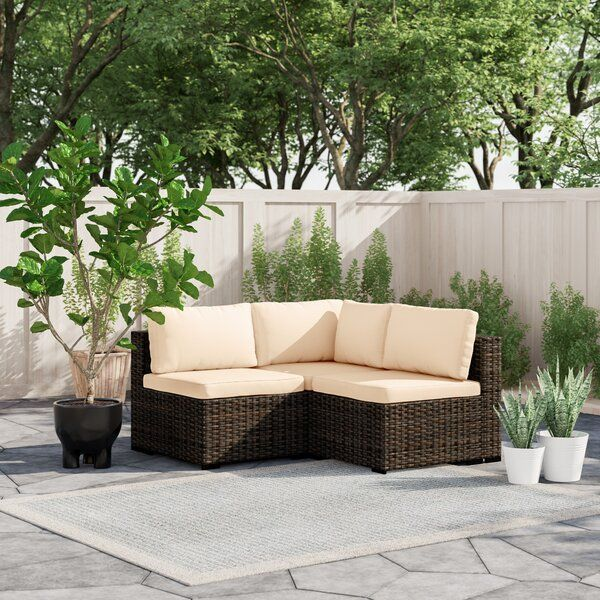 Holliston 3 Piece Rattan Sectional Seating Group With Cushions Seating Groups L Shaped Sofa Designs Small Apartment Patio