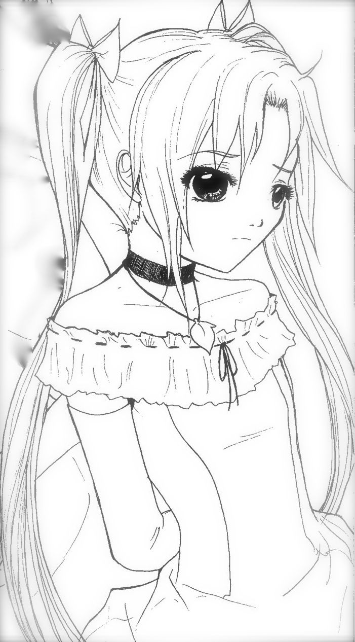 anime coloring page . sad | Kawaii | Pinterest | Trauriges mädchen ...