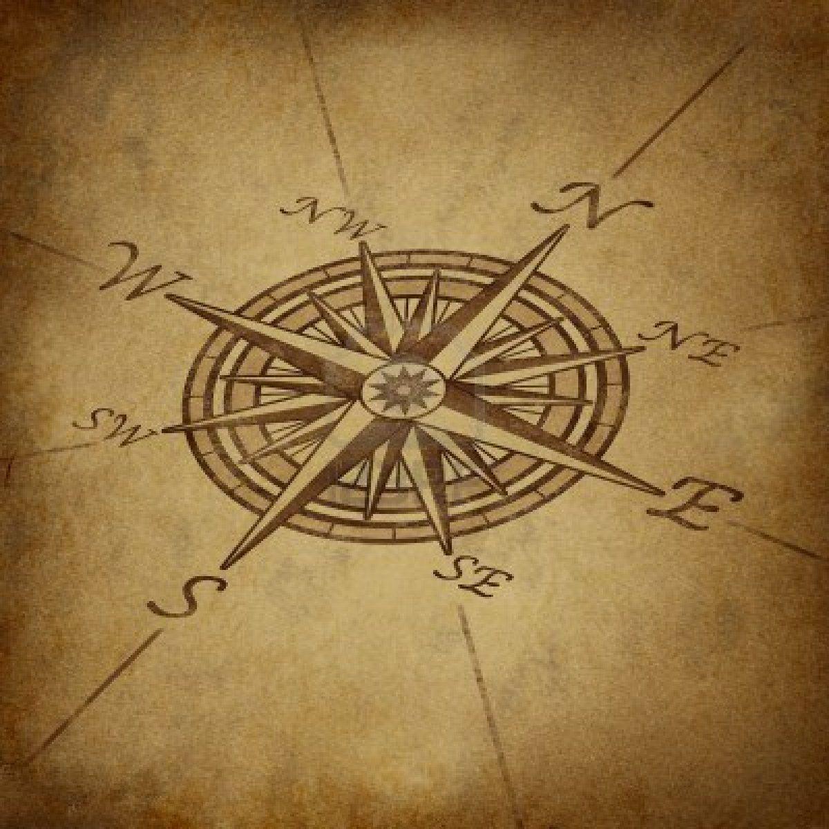 Compass Rose In Perspective With Old Vintage Grunge Texture Representing Vintage Compass Tattoo Compass Tattoo Compass Rose Tattoo