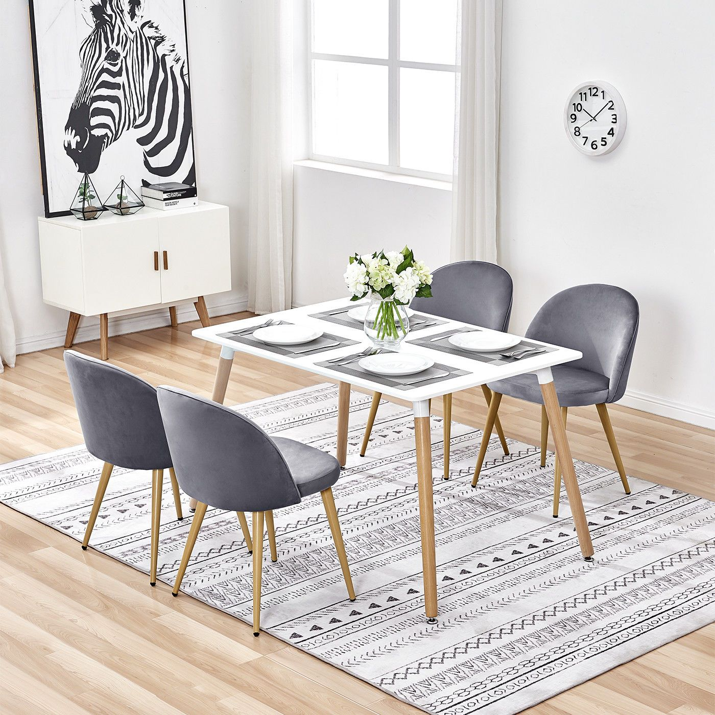 Details about Modern Kitchen Table and 4 Dining Chairs