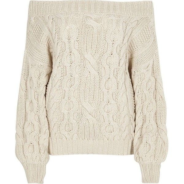 210c0a4ce65 River Island Cream cable knit bardot sweater ($80) ❤ liked on Polyvore  featuring tops, sweaters, jumpers, cream, knitwear, women, long sleeve  sweater, ...
