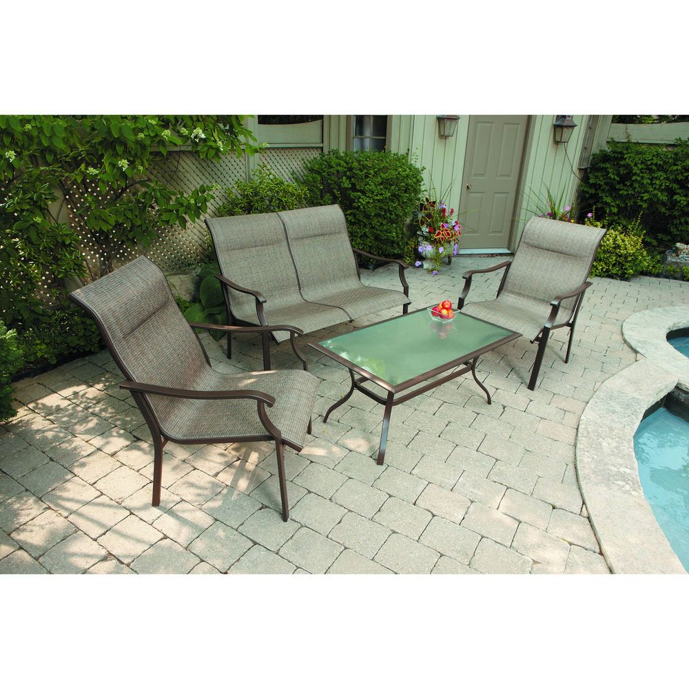 patio outdoor sofa set sling loveseat garden furniture steel backyard seats 4pc mainstayspatio - Garden Furniture Steel