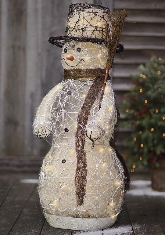2013 outdoor Christmas LED snowman decor, diy snowman for Christmas, outdoor  Christmas snowman #2013 #outdoor #Christmas #snowman #decor  www.loveitsomuch. ... - 60 Trendy Outdoor Christmas Decorations HoHoHo! Pinterest