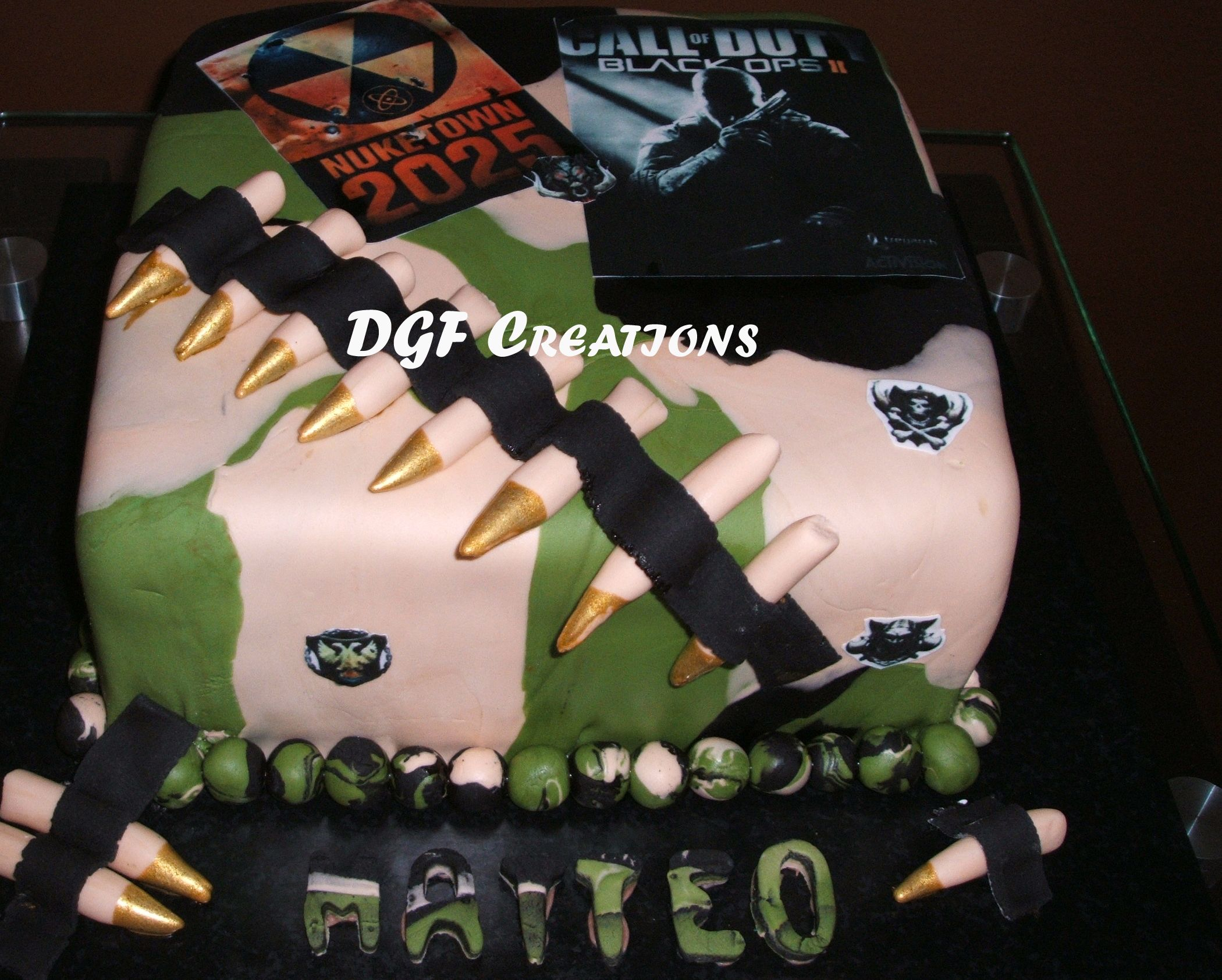 Call of Duty Cake for Boy Birthday with camouflage colored