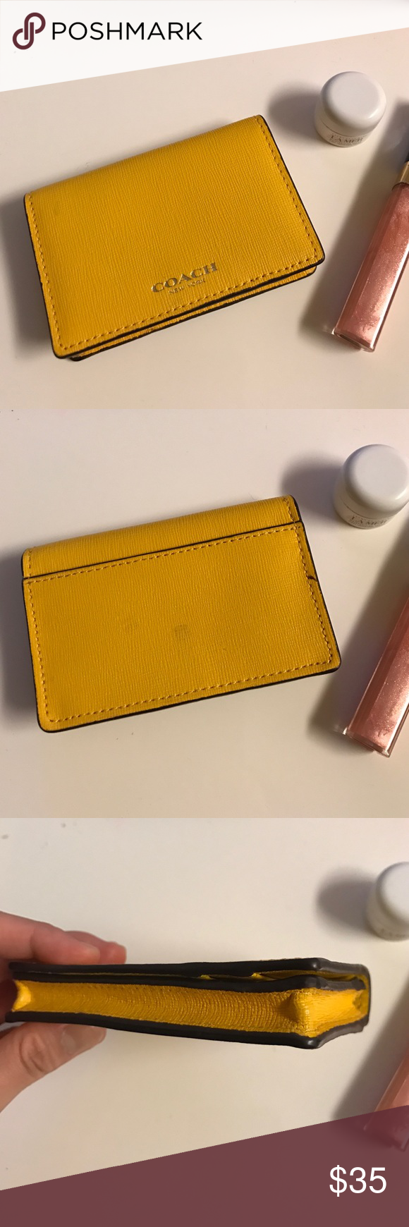 Yellow Coach card case Preloved authentic Coach business card case ...