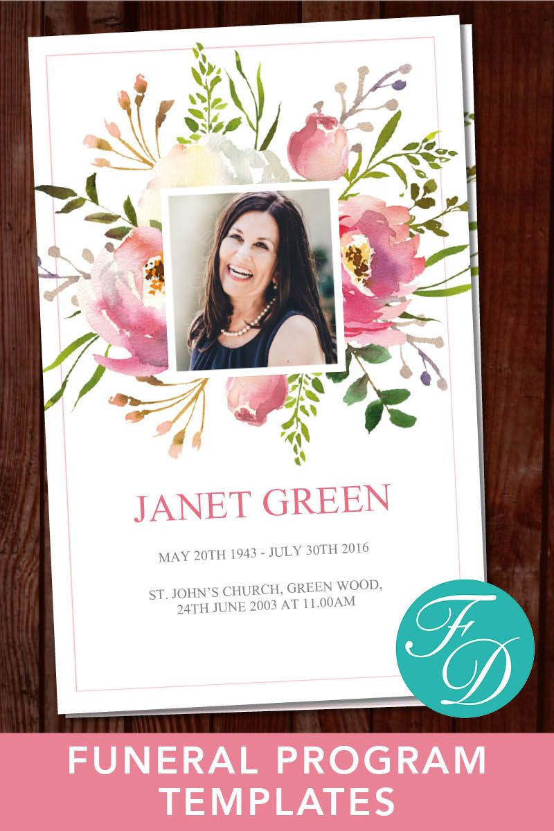 Funeral Program Template Order Of Service Celebration Of Etsy Funeral Program Template Funeral Templates Funeral Programs Free funeral programs template download