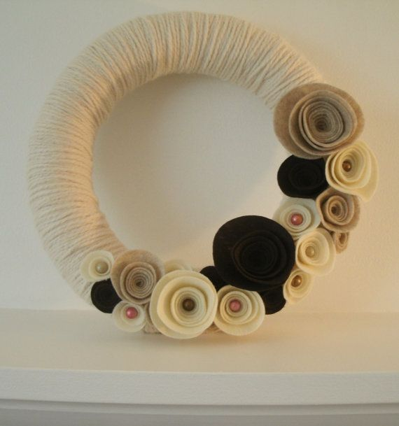 Hey, I found this really awesome Etsy listing at http://www.etsy.com/listing/88368272/natural-cream-bliss-wool-yarn-wreath