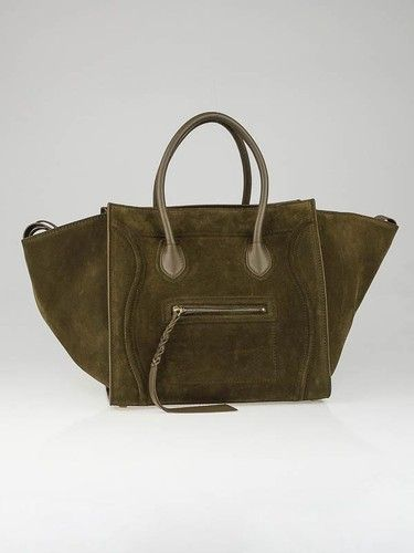 9bacc7ae637d Celine Khaki Suede Small Phantom Luggage Tote Bag in 2019