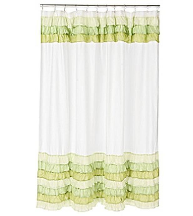Anthropologie Victory Garden Ruffled Fabric Shower Curtain Green ...