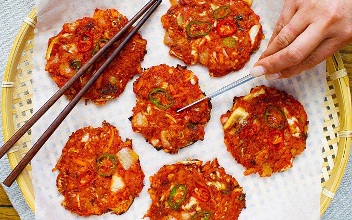 Kimchi potato pancakes vegan in 2020 potato pancakes