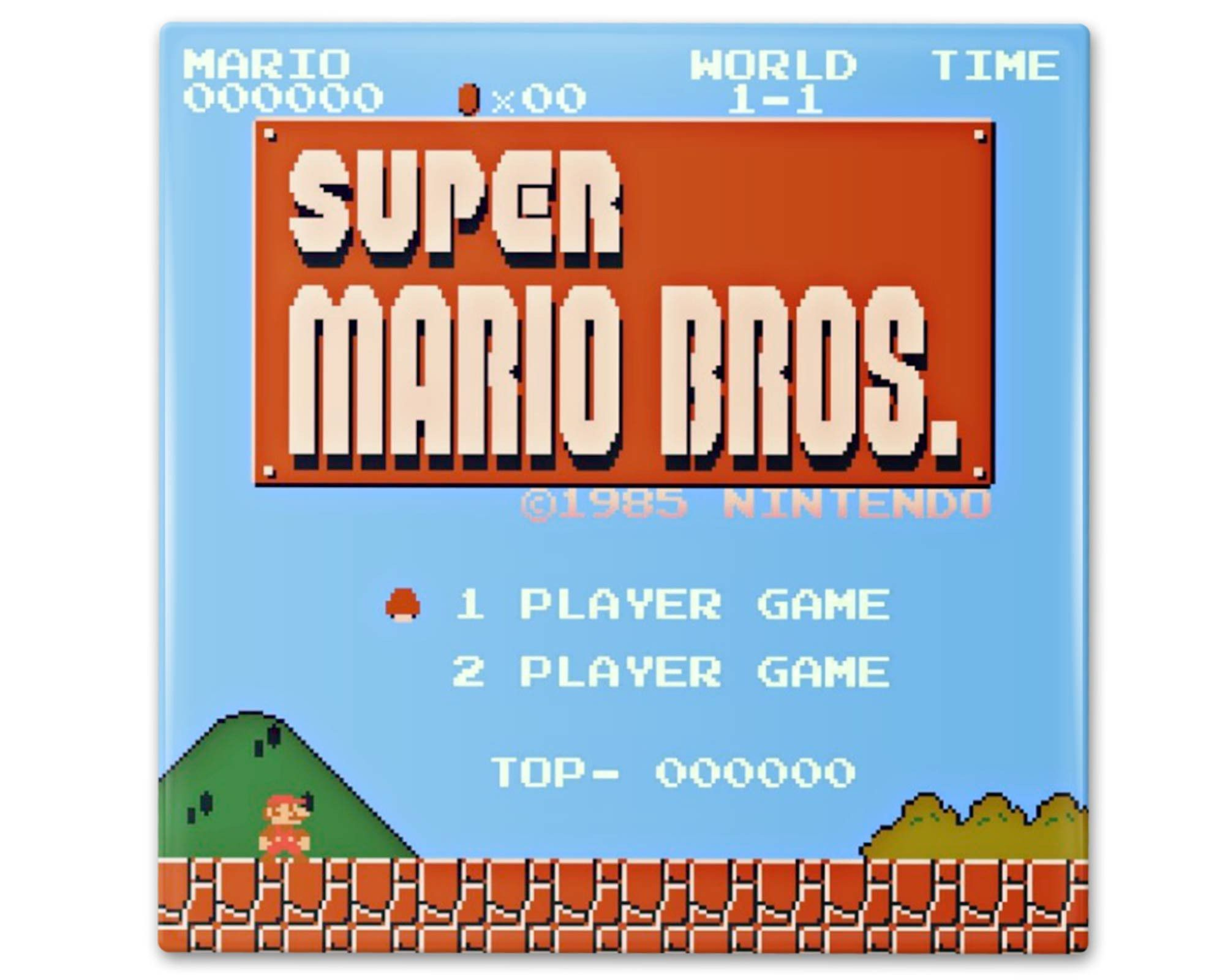 Classic Super Mario Start Screen Ceramic Coasters Vibrant
