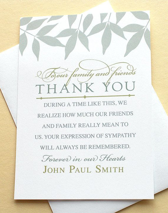English and Spanish Sympathy Thank You Cards with Blue Green Leaves