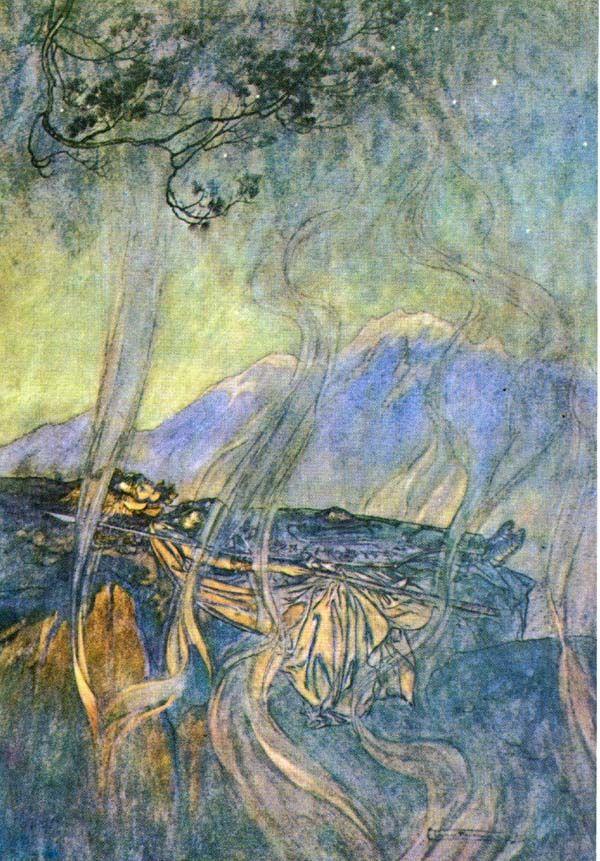 The sleep of Brünnhilde (1910), by Arthur Rackham (1867-1939), from Act 3 of Die Walküre (1856), by Richard Wagner (1813-1883).