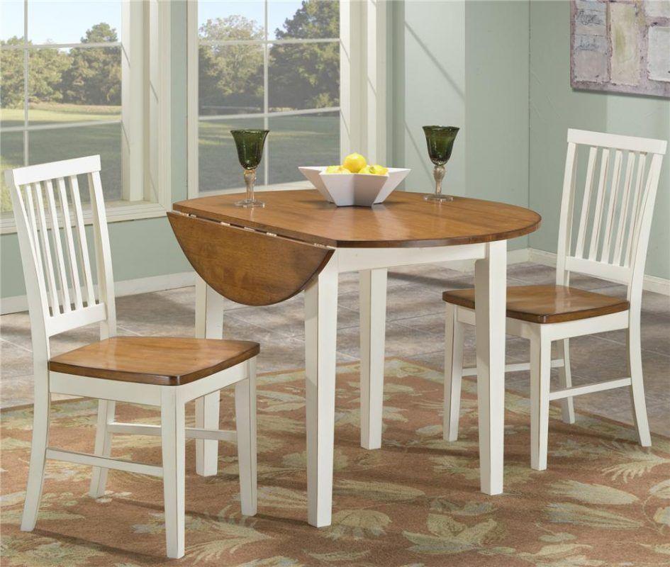 Tables & Chairs Enchanting Round Brown White Teak Wood Drop Leaf ...