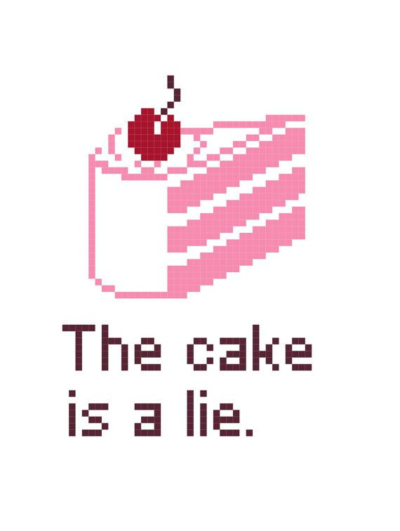 The Cake Is A Lie Portal Themed Cross Stitch by StachesandStitches, $2.99