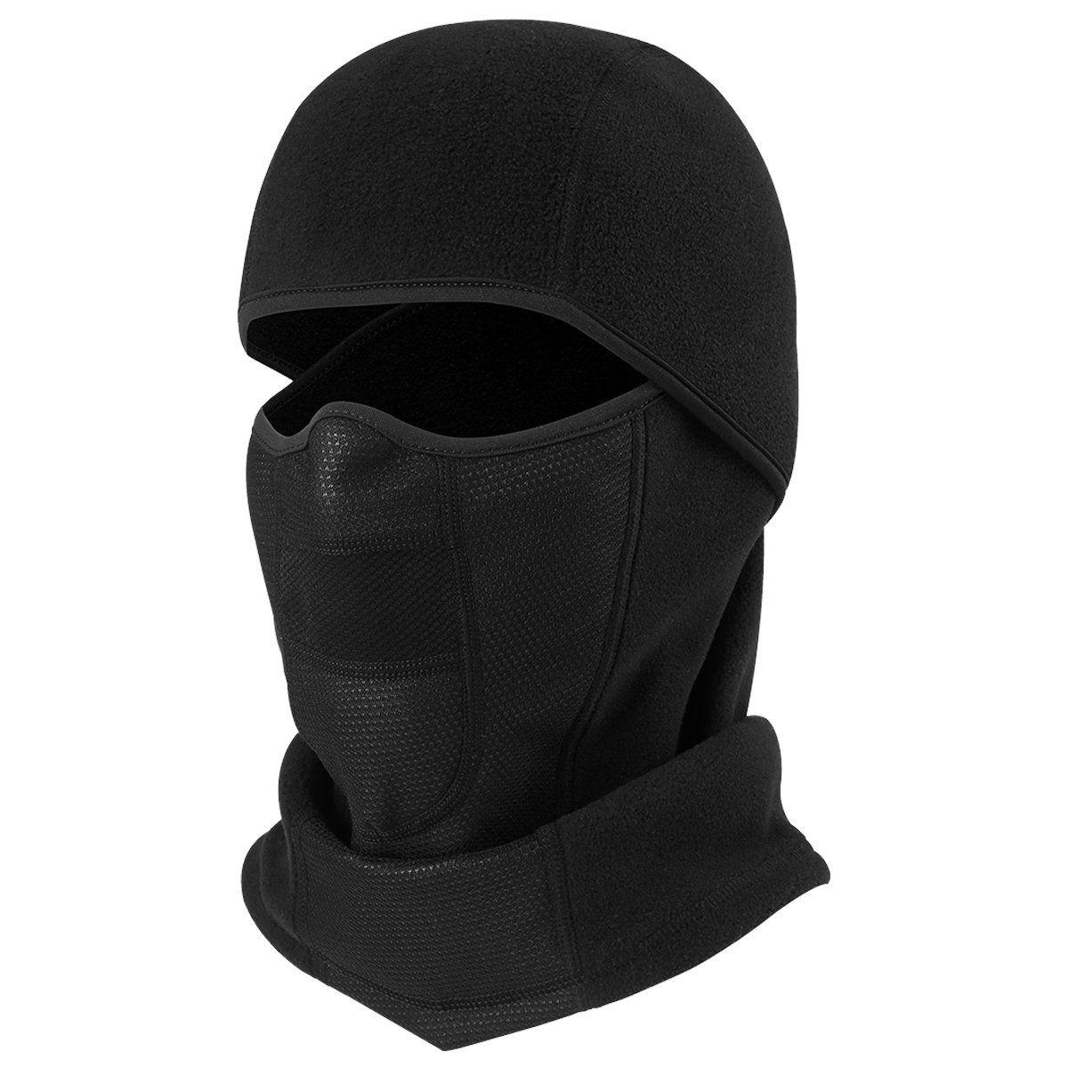 BLACK POLAR FLEECE THERMAL BALACLAVA army military open face mask ski head cover