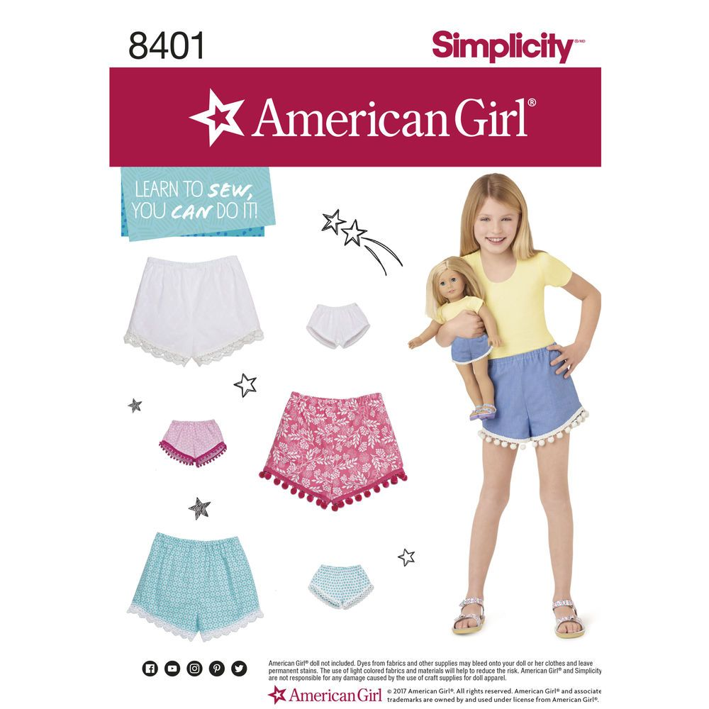 American Girl learn-to-sew pattern to make matching shorts for Child ...