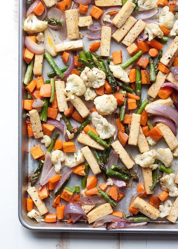 Pan Tofu & Veggie Dinner Sheet Pan Tofu & Veggie Dinner recipe - A super-simple one-pan vegan dinner recipe! Roasted veggies, protein-rich tofu - so convenient and easy. | potluck at Veggies  Veggies may refer to: