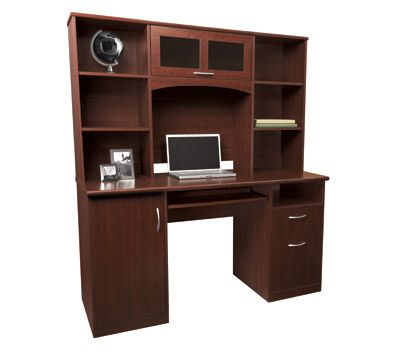 landon desk with hutch, cherry - http://www.officemax/office