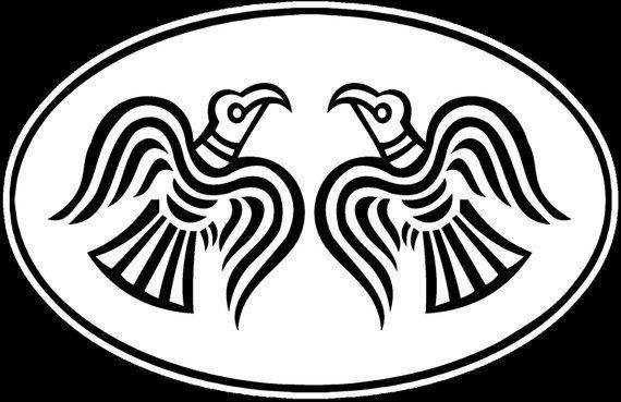 Odins Ravens Huginn And Muninn Oval Sticker For Many Purposes