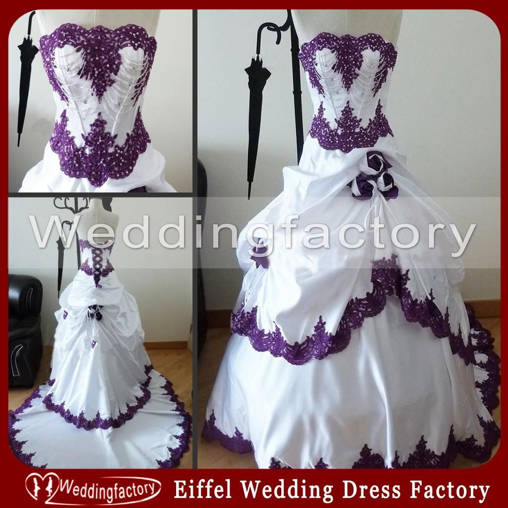 Purple And White Wedding Dresses A Line Strapless