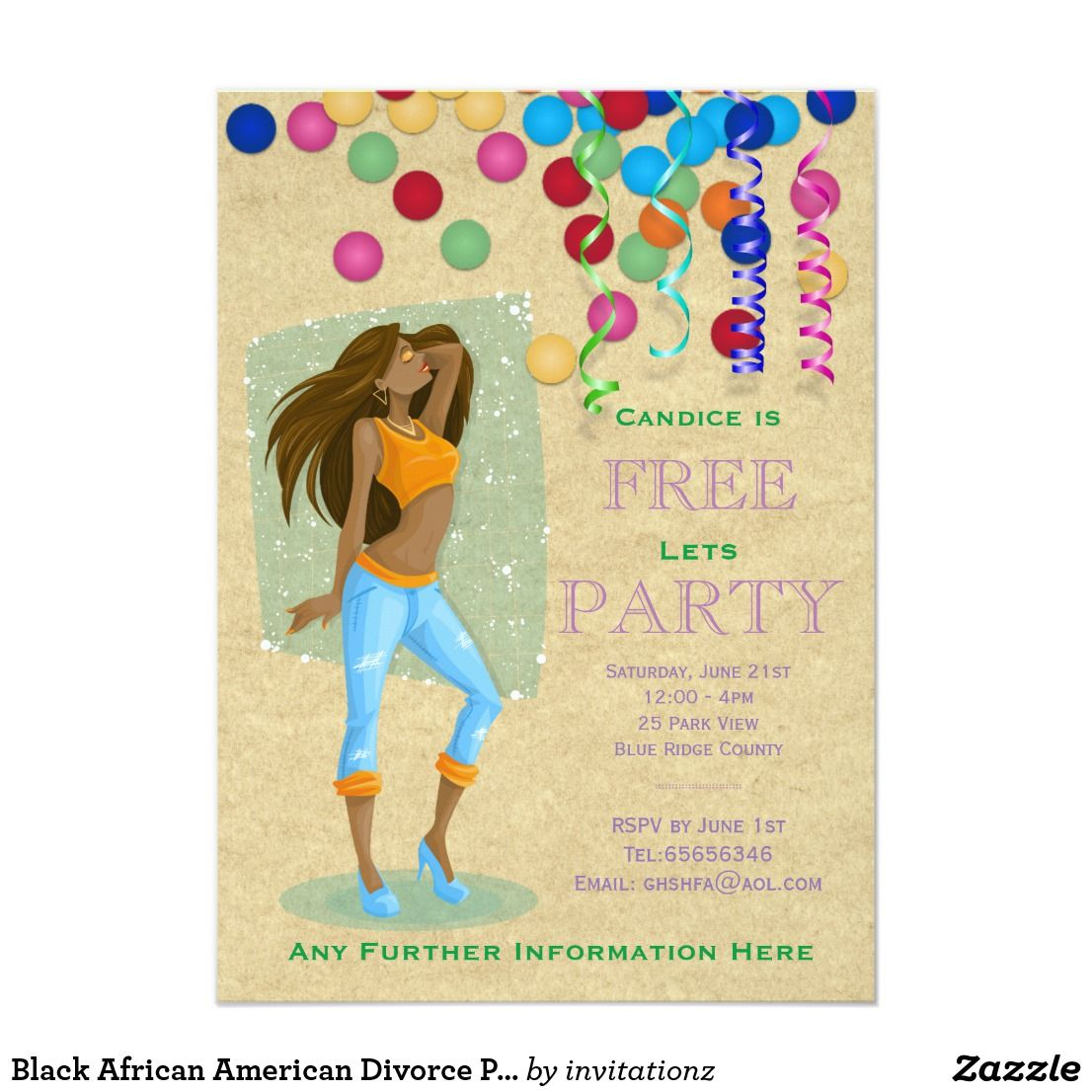 African American Divorce Party Invites