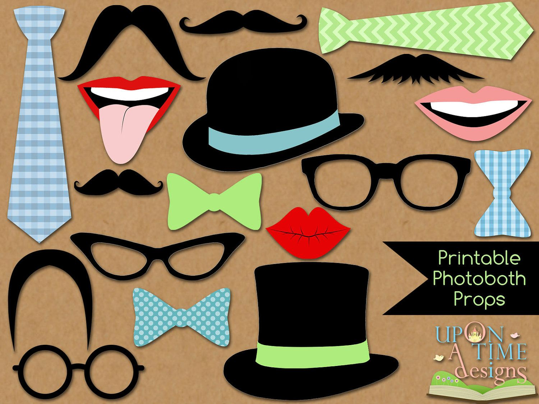 Photobooth Props PRINTABLE Moustache Lips Glasses
