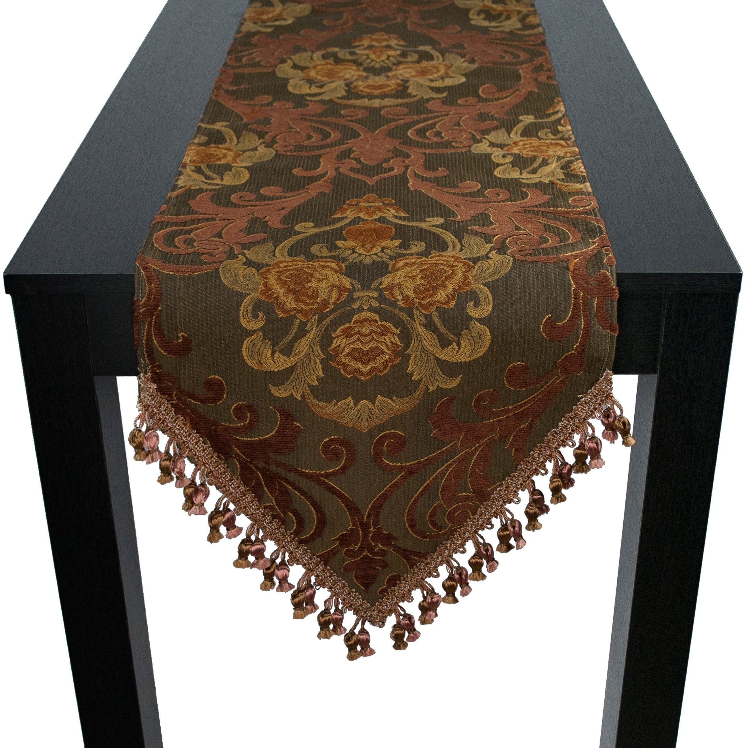 Sherry Kline Anderson 72 Inch Luxury Table Runner 12 X 72 Brown Polyester Products In 2019 Table Table Runners Table Linens