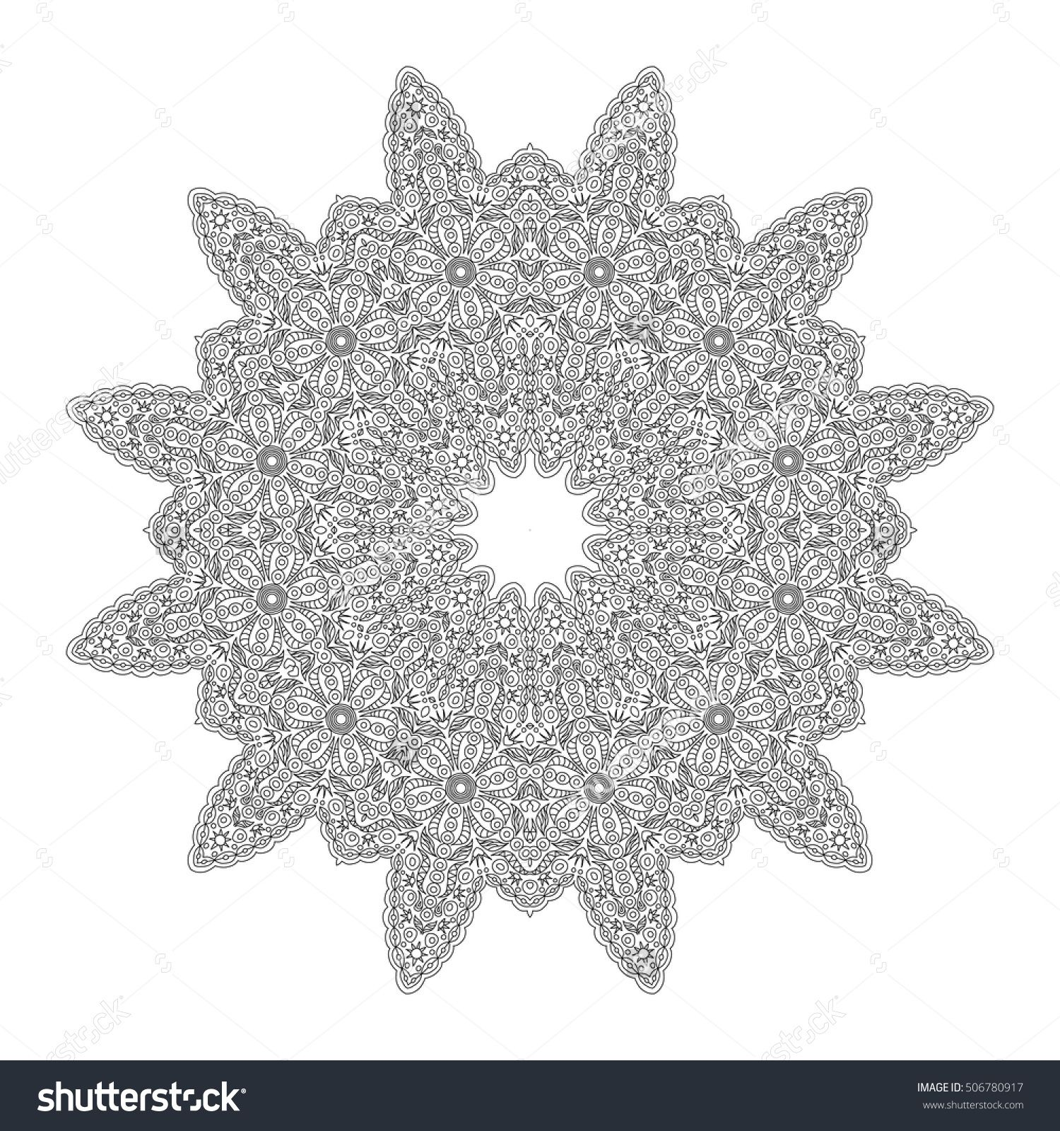lacy hand drawn hexagon pattern coloring book page mandala