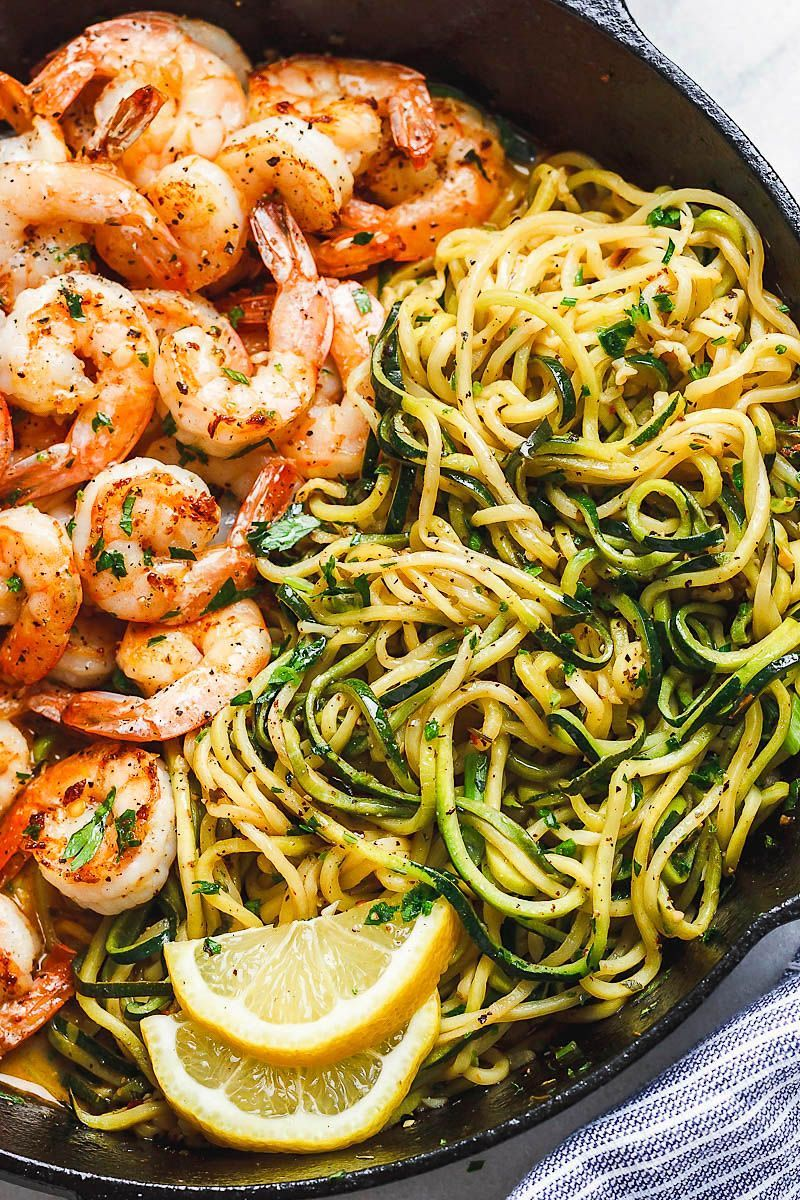 Lemon Garlic Butter Shrimp with Zucchini Noodles  This fantastic meal cooks in one skillet in just 10 minutes and  by10Minute Lemon Garlic Butter Shrimp with Zucchini Noo...
