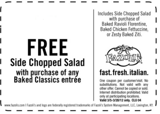 photograph regarding Fazoli's Printable Coupons identified as Fazolis Coupon codes Coupon codes, Cost savings, and Offers Printable
