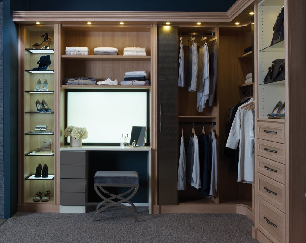 Great Design: Tiny Ceiling Lighting On Elegant Walk In Closet Feat Comfy Bench  With Rectangular Wall Mirror Also Grey Area Rug: U Shaped Organizer And  Ergonomic ...