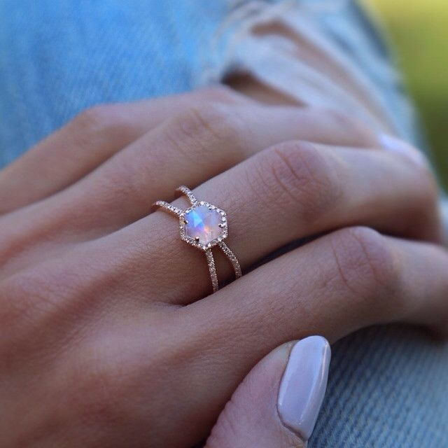 14kt gold and diamond Double Band Moonstone Hex ring