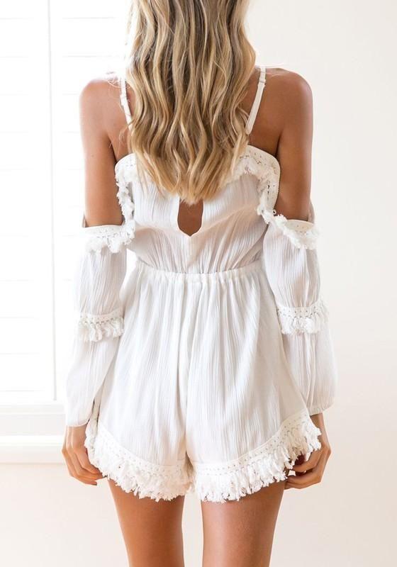 ac3005c74a4 White Patchwork Spaghetti Strap Tassel Drawstring Waist Short Jumpsuit