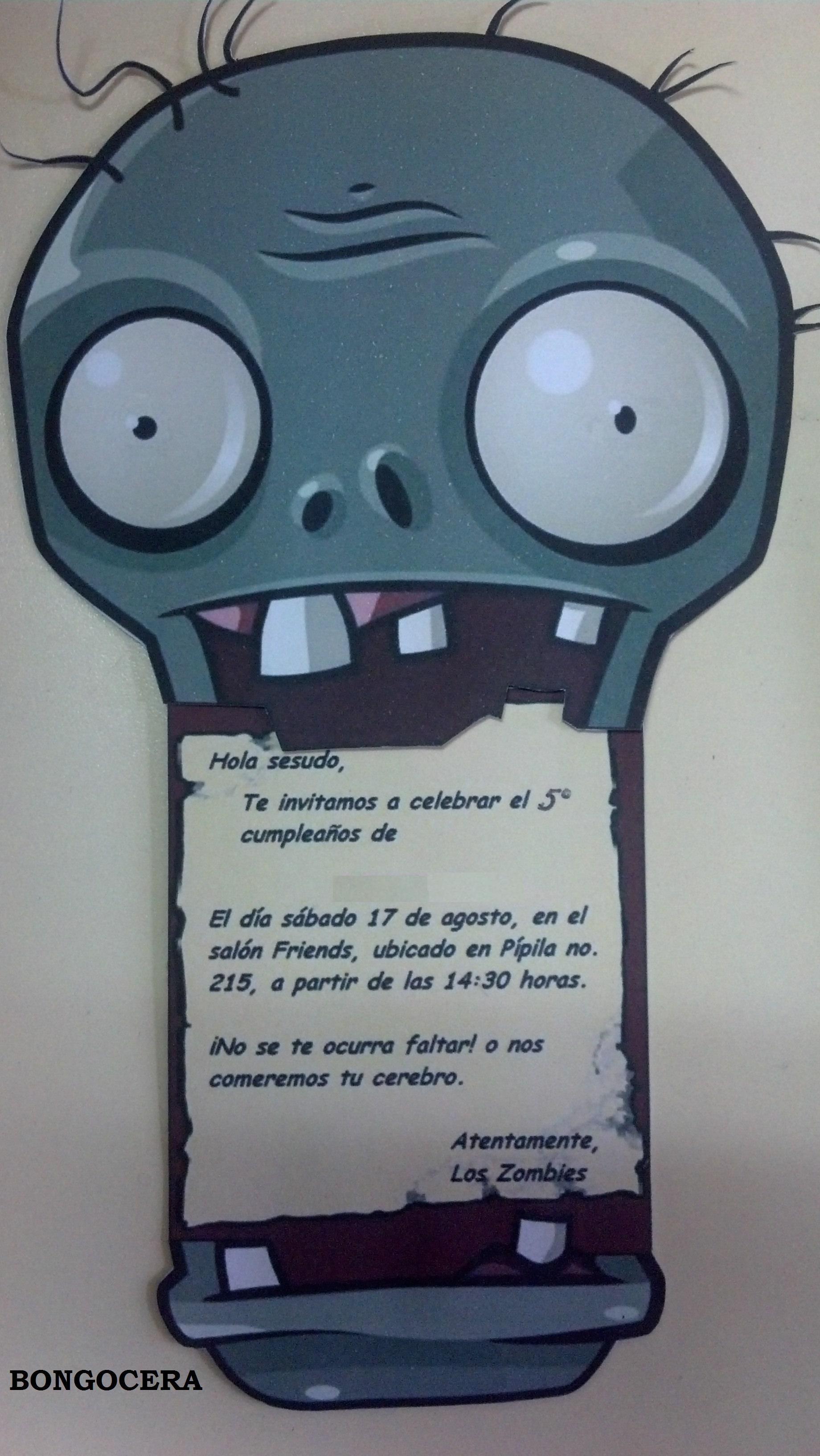 Invitación Cumpleaños Plantas Vs Zombies Fiestas De