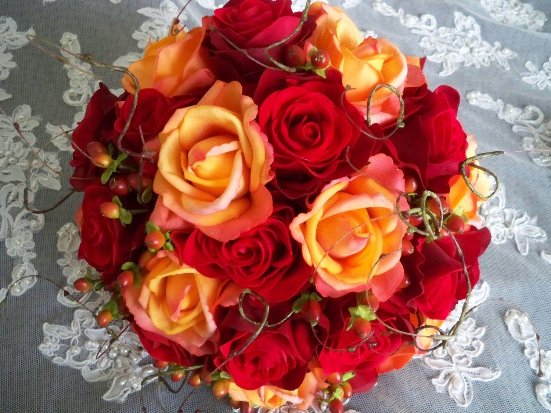 Fall wedding bouquets silk flower red orange bridal for Fall fake flower arrangement ideas