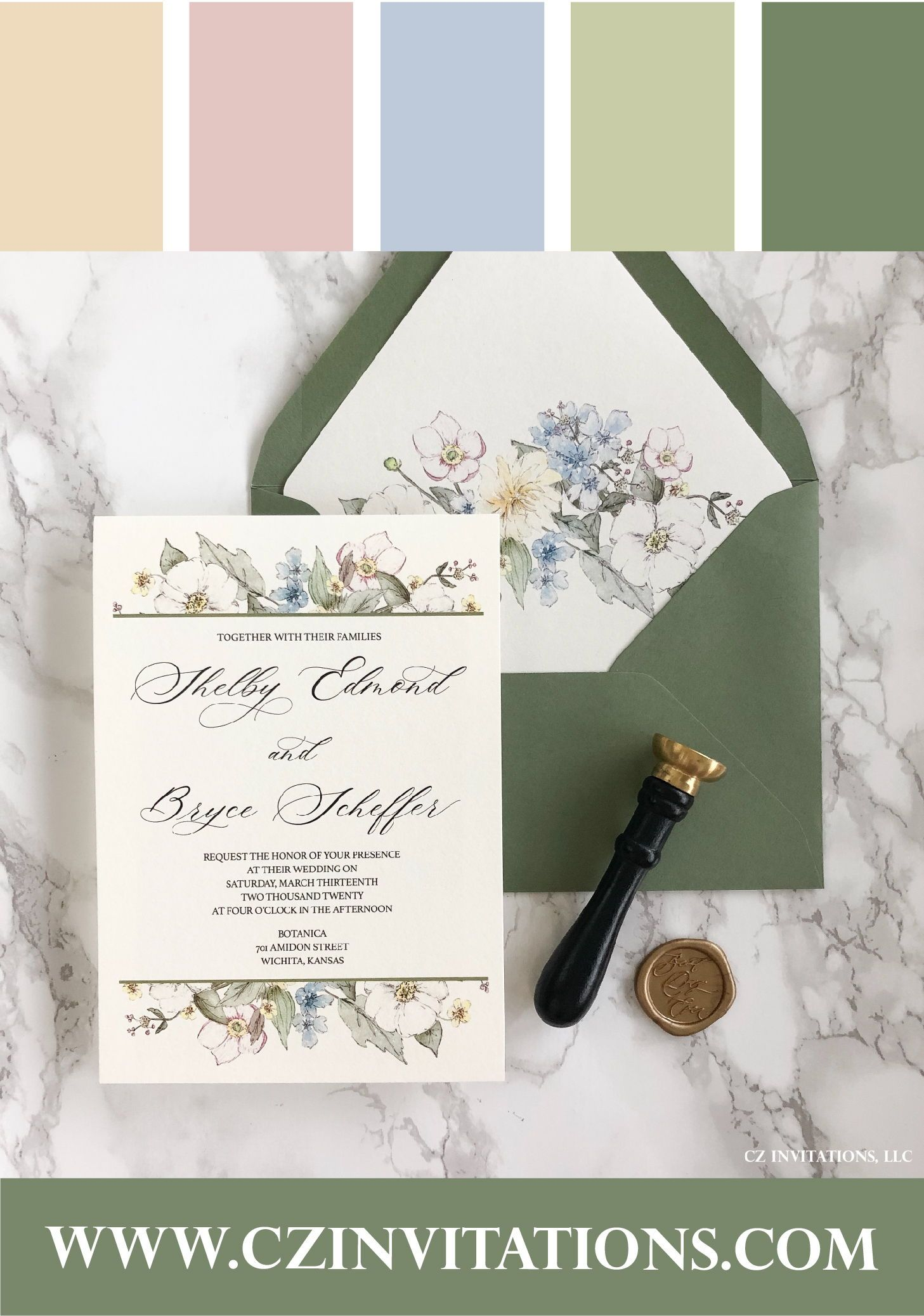Green Floral Vellum Wedding Invitation With Wax Seal Floral Watercolor Wedding Invitation Vellum Invite In 2020 Watercolor Floral Wedding Invitations Green Wedding Invitations Floral Wedding Invitations