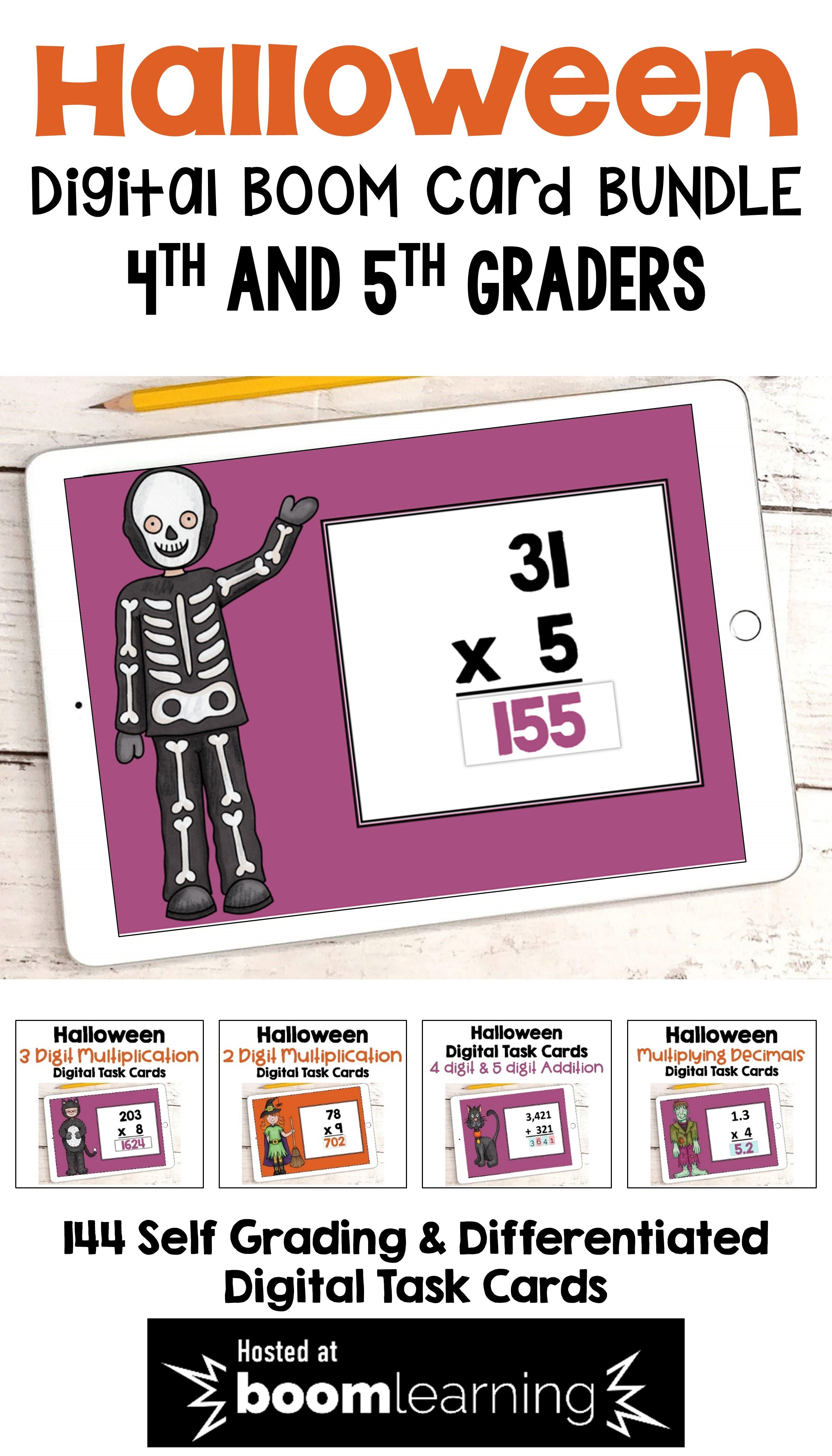 Halloween Math Boom Card Bundle For 4th And 5th Grades