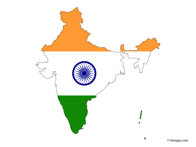 Flag Map Of India Free Vector Maps India Map Map Vector Map