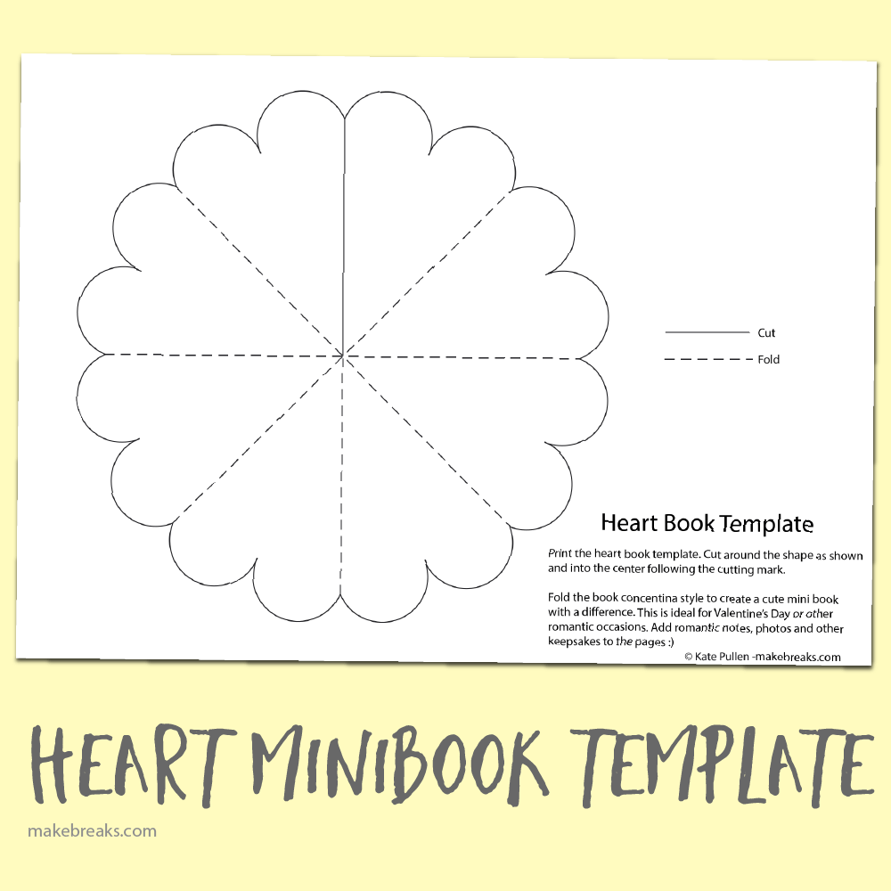 Free heart minibook template make breaks