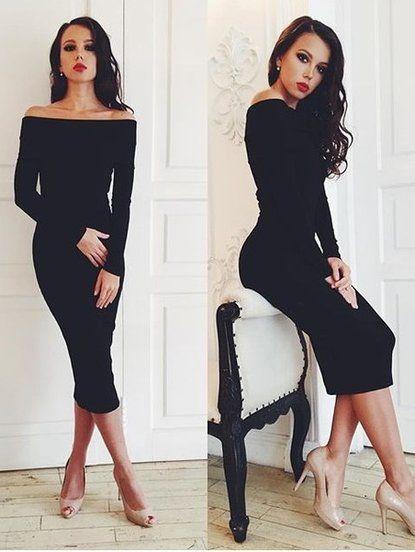 5fe1467b3df Черное элегантное платье миди длинны со спущенными плечиками