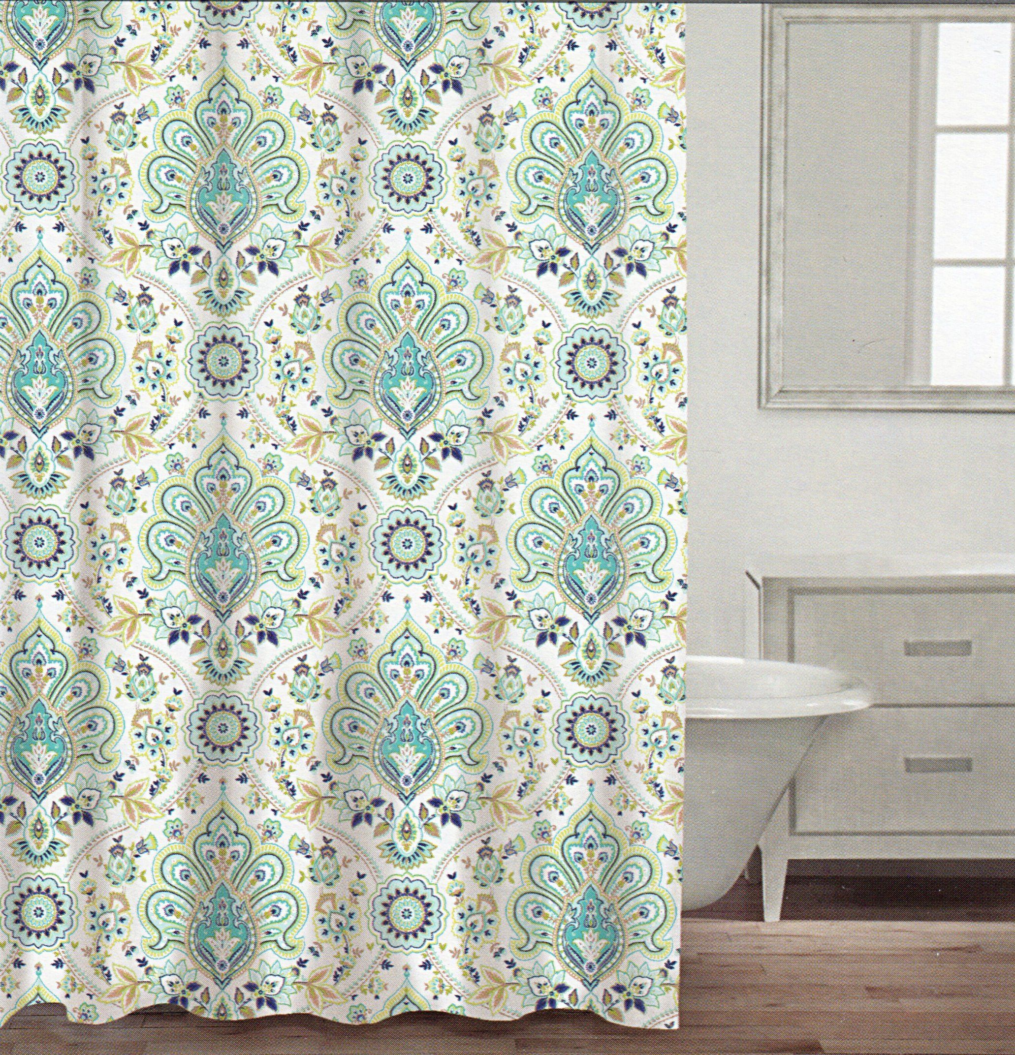 Mint green shower curtain and rugs - Caro Home Cotton Shower Curtain Floral Paisley Medallions Fabric Shower Curtain White Turquoise Green Navy Blue Beige Damask Design